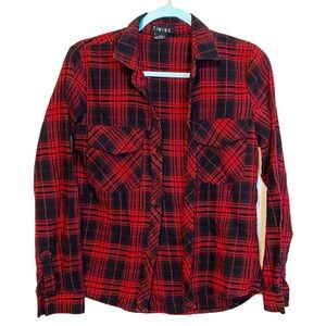 Timing Red Plaid Button Up Flannel Collared Shirt